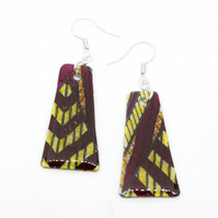 Pink and Yellow African Fabric Print Earrings