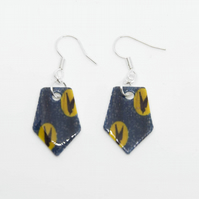 Blue and Yellow Bird Print Earrings