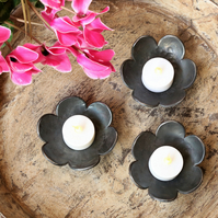 3 Flower Candle Holders-Hand forged Iron flowers for tea lights