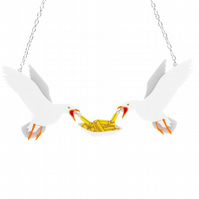 Seagulls necklace - laser cut acrylic - National Maritime Museum collaboration