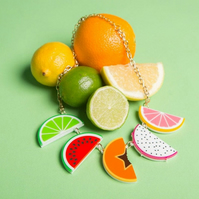Tropical Fruit Slice necklace - laser cut acrylic