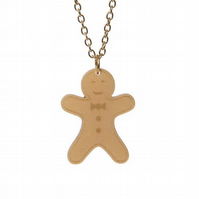 Gingerbread Man necklace - laser cut acrylic