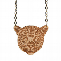 Leopard necklace - laser cut engraved wood