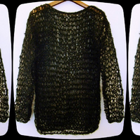 Hand knit in the UK OPEN KNIT MOHAIR JUMPER any size, BLACK, punk goth