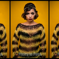 black & yellow MOHIAR JUMPER punk rock bumble bee, holey, ANY SIZE seditionaries