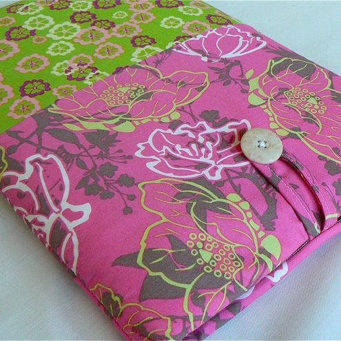 Pink & Lime floral sleeve - fits 13 inch Macbook/Pro