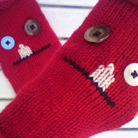 Fingerless Gloves - Toothy Ugly Monster Mitts - Halloween