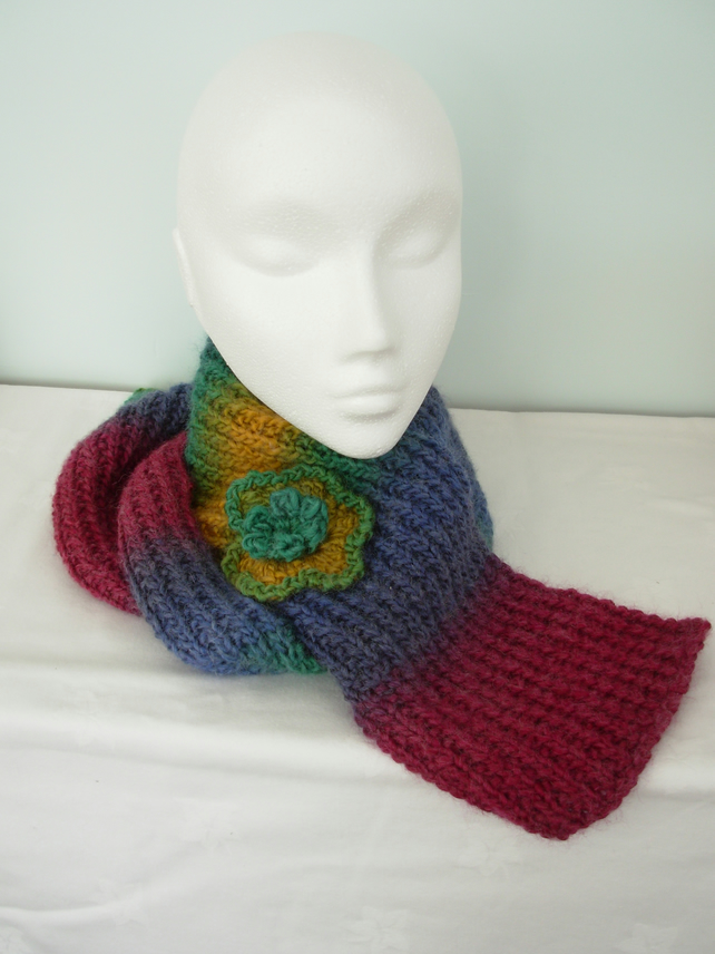 crafts browse more items in scarves knitted scarf with crochet flower Knitted Or Crocheted Scarves