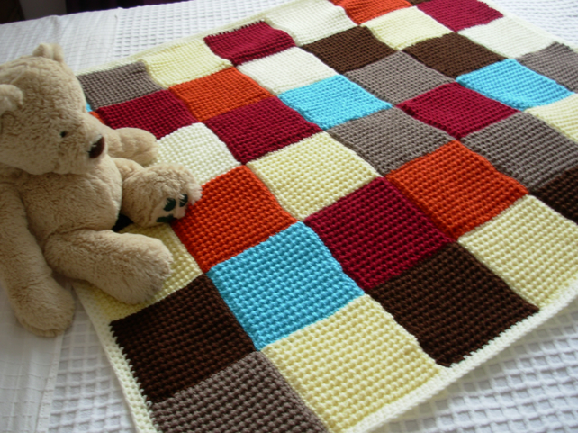 Knitting Patterns Blankets Patchwork : Knitted Patchwork Lap Blanket Quilt Throw - Folksy Craftjuice Handmade Soci...