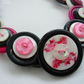 Button Necklace Black White and Pink