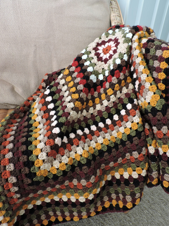 Crochet Square Blanket Autumn Colours