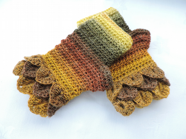 Fingerless Mitts with Dragon Scale Cuffs Autumn Colours
