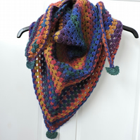 Triangle Scarf Shawl Hand Crochet Autumn Colours