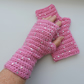 Crochet Fingerless Mitts Wrist Warmers Pink with Sequins