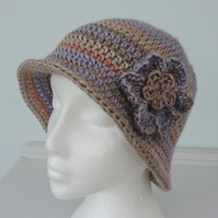 Crochet Hat Cloche Style Mushroom Taupe Lilac and Rust