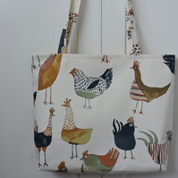 Tote Bag  Shopping Bag  Craft Bag  Chickens