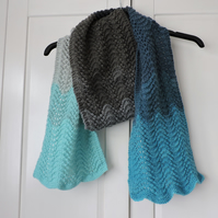 Knitted Scarf Blues Pale Grey and Charcoal