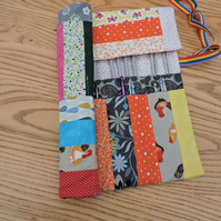 Knitting Needle and Crochet Hook Roll Patchwork