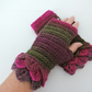Crochet Fingerless Mittens Dragon Scale Cuffs Olive  Magenta and Hot Pink