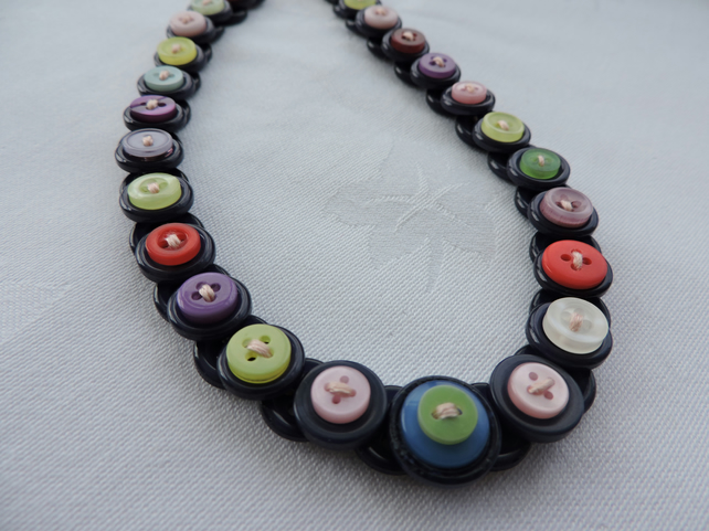 Button Necklace Black with Rainbow Colours