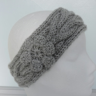 Ski Band Head Band Ear Warmers -  Grey - Acrylic and Alpaca - Adults