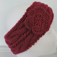 Ski Band, Ear Warmers Head Band Adults Red