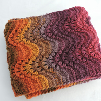 Knitted Scarf - Autumn Colours - Wavy Pattern