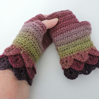Fingerless Crochet Mitts with Dragon Scale Cuffs