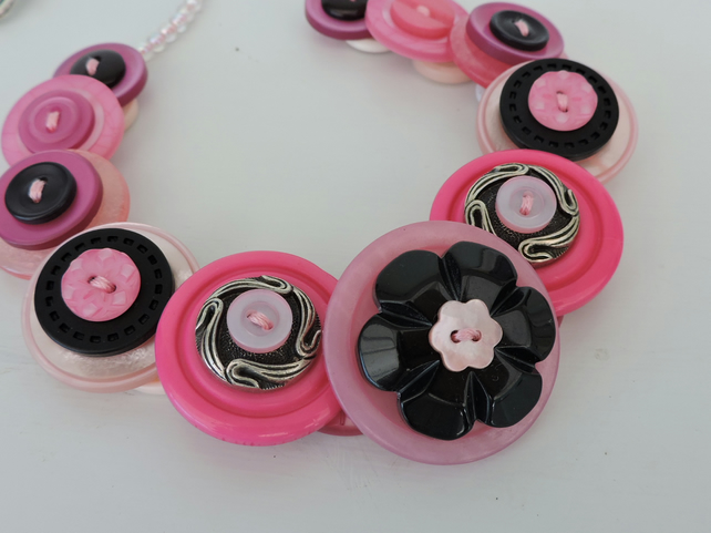 Button Necklace Black Pink and Hot Pink
