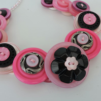 Button Necklace  Hot Pink Black and Pale Pink