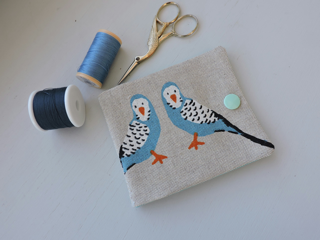 Sewing Needle Case Turquoise Budgies