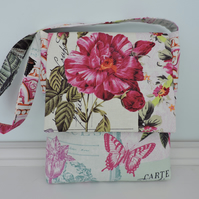 Handbag Floral Fabric Messenger Style