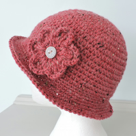 Cloche Hat Adults Rusty Red Tweed