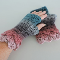 Dragon Scale Cuff Fingerless Mitts Adults