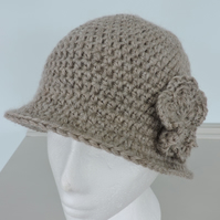 Crochet Cloche Hat Adults Oatmeal Acrylic and Alpaca