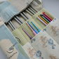 Knitting Needle and Crochet Hook Roll Cream Sage and Dusky Blue