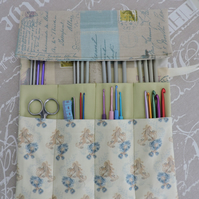 SALE Knitting Needle  Crochet Hook Tidy  Dusky Blue, Sage and Cream