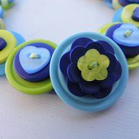 Button Necklace Dark Blue Pale Blue and Lime