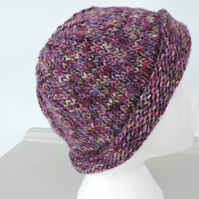 Beanie Hat Adults Chunky Purple Marl