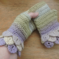 Fingerless Crochet Mitts Wrist Warmers with Dragon Scale Cuffs Adults