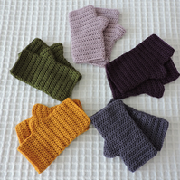 Crochet Fingerless Mitts -  A choice of 5 different colours