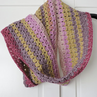 Crochet Infinity Scarf Pink Green Mauve