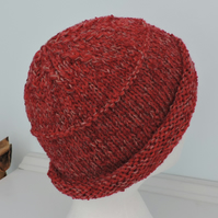 Beanie Hat for Adults Russet Red Hand Knitted