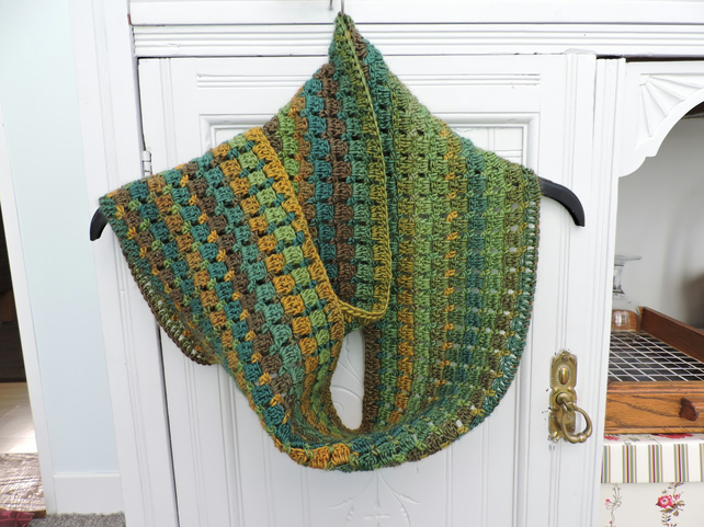 Infinity Scarf Crochet in Green Gold Mustard and Khaki