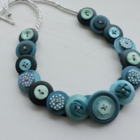 Button Necklace Teal Turquoise and White