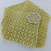 Crochet Neck Warmer Cowl Scarf Soft Lime Green