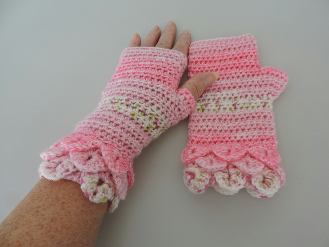 Dragon Scale Cuffs Fingerless Mitts Pink White and Green