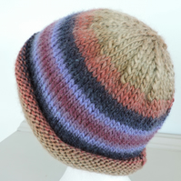 Knitted Beanie Hat Adults Autumn Colours