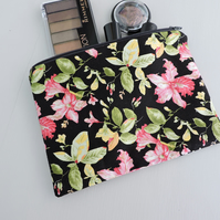 Make Up Bag, Cosmetic Bag, Zipped Pouch - Floral on Black