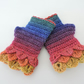 Fingerless  Mitts with Dragon Scale Cuffs Rainbow